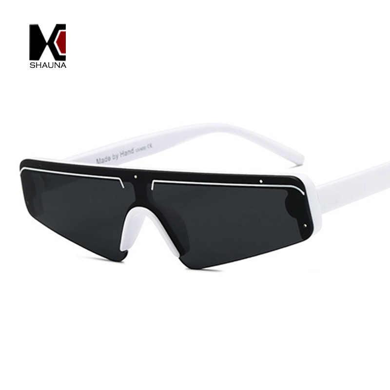 ab69f5dc11 ... SHAUNA Fashion Flat Top Half Frame Sunglasses Women Retro Stripe Men  Shades rimless UV400