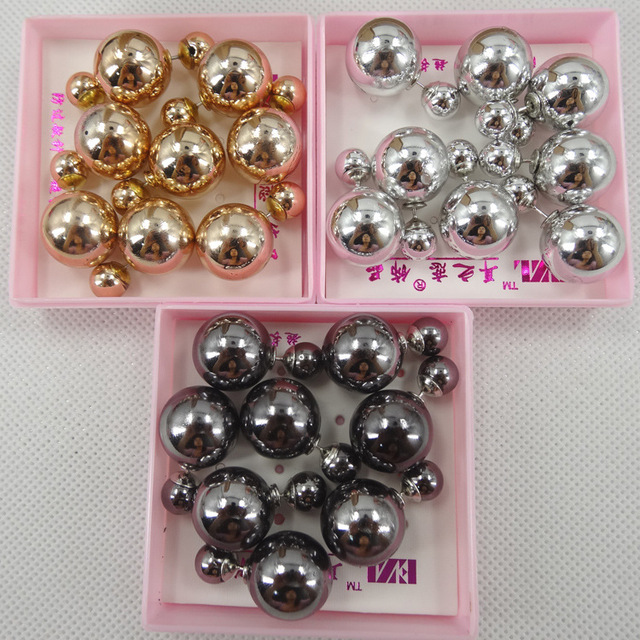 9f72a5246 fashion jewelry wholesale exaggerated pearl ABS -plated double-sided color  double faced pearl stud