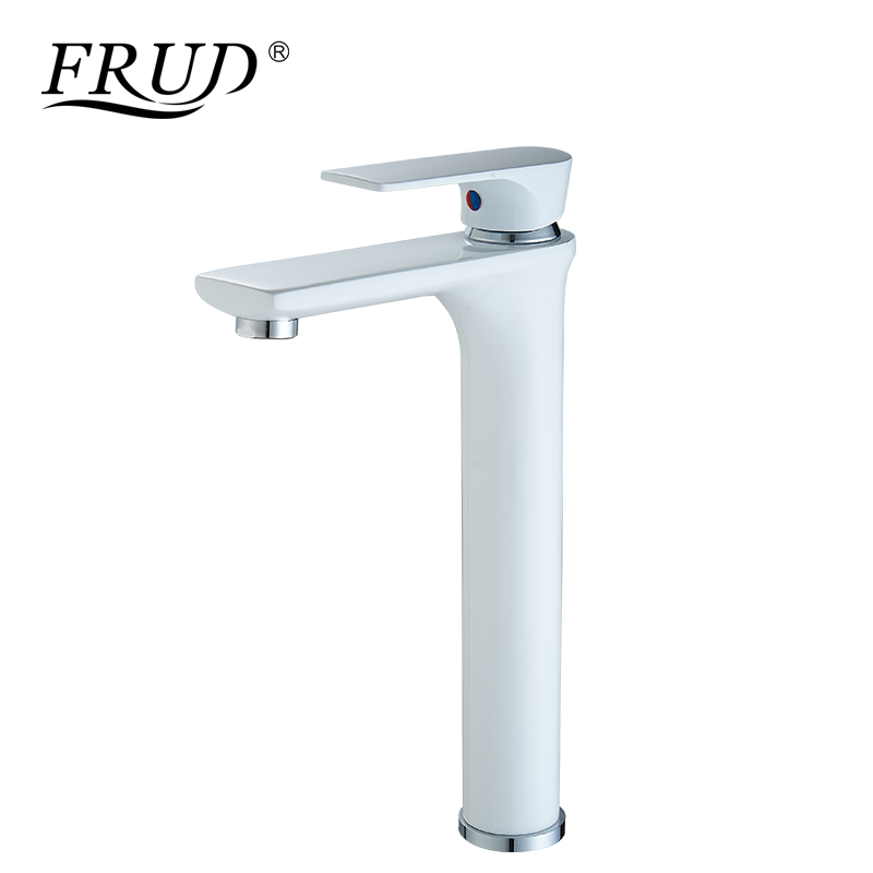 FRUD New Single Handle  Basin Faucet White Hot and Cold Water Basin Sink Mixer Tap Brass Made Deck Mounted Tall Faucet Y10111FRUD New Single Handle  Basin Faucet White Hot and Cold Water Basin Sink Mixer Tap Brass Made Deck Mounted Tall Faucet Y10111