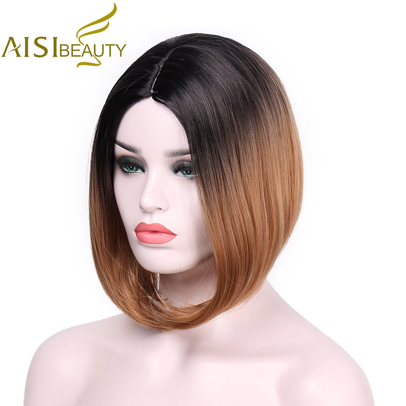 AISI BEAUTY African American Bob Wigs Short Shoulder Length Ombre Blonde Green 8 Colors Straight Synthetic Wigs For Black Women