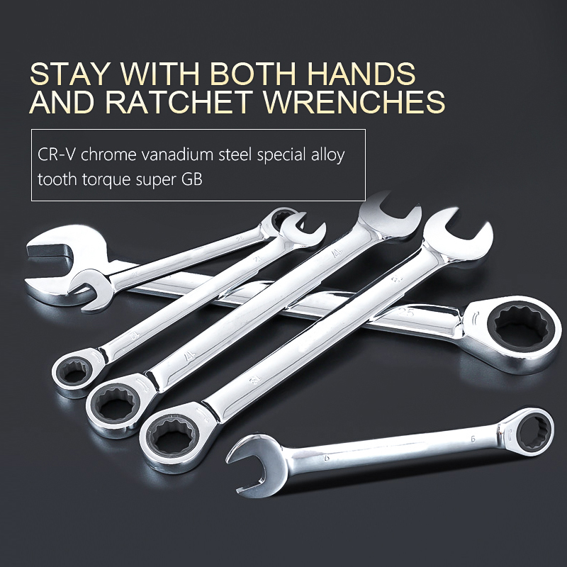 6mm-32mm Ratchet Spanner Combination Wrench Set of keys ratchet skate tool gear ring wrench ratchet set flexible veconor 8 10 12 13 15 17 19mm ratchet spanner combination wrench a set of keys gear ring tool ratchet handle chrome vanadium