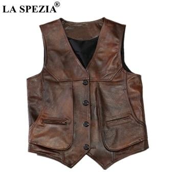LA SPEZIA Brown Real Leather Vests Men Cow Leather Waistcoats Luxury Brand Thick Male Genuine Leather Jacket Sleeveless Gilet 2018 genuine cow leather men