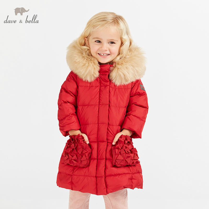DB8836 dave bella winter baby down coat girls hooded outerwear children 90% white duck down padded kids with fur jacket цена 2017