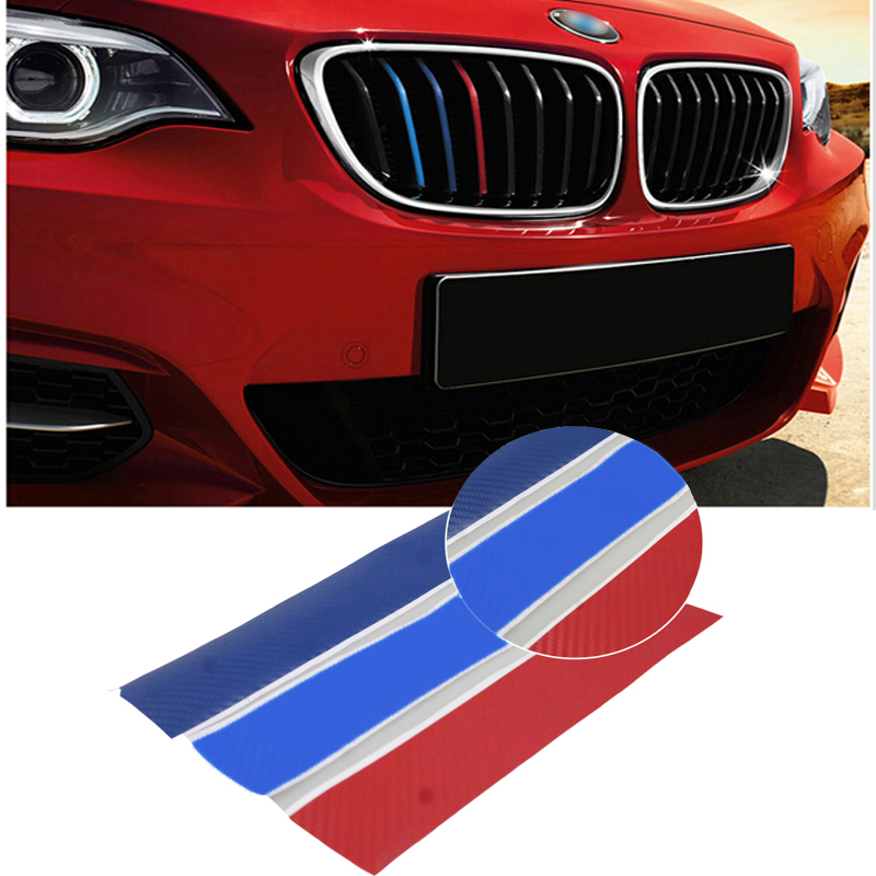 3psc ///M 3D Carbon Fiber Front Grill Stripes Sticker For Universal BMW e46 X3 X4 X5 X6 Front Grille Sticker For BMW Car Styling