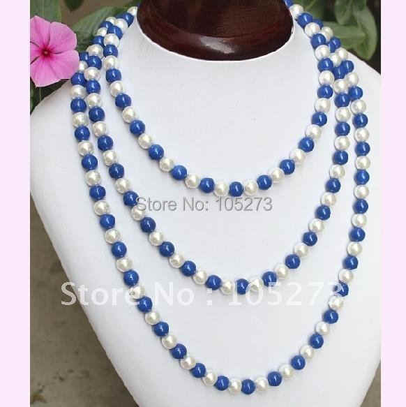 Charming! Turquoises + pearl necklace 48''inchs long necklace AA 7-8MM white freshwater pearl necklace NF238