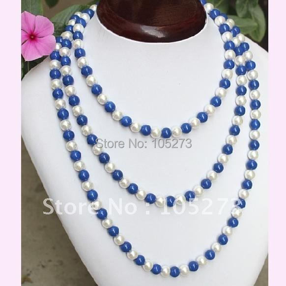 Charming! Turquoises + pearl necklace 48''inchs long necklace AA 7-8MM white freshwater pearl necklace NF238 charming rose quartz pearl necklace 44cm length
