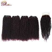 Dark Red Burgundy Peruvian 100 Human Hair Extension Kinky Curly 4 Bundle With Closure Grape Purple Hair Nonremy Pinshair No Shed(China)