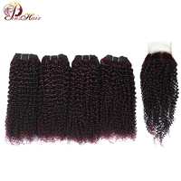 Dark Red Burgundy Peruvian 100 Human Hair Extension Kinky Curly 4 Bundle With Closure Grape Purple Hair Nonremy Pinshair No Shed