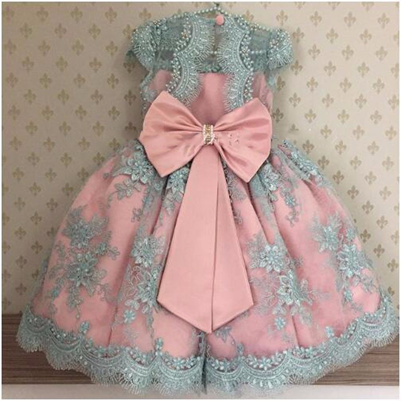Cute Shiny Pearls Appliques Pink Blue Flower Girl Dress long pageant dresses for kids communion Dresses kids Birthday Gowns elegant lace floral appliques flower girls dress cute mint green sleeveless pearls beaded kids pageant ball gowns for communion