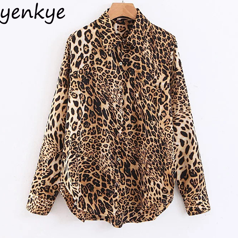 Women Sexy Leopard   Blouse     Shirt   Female Turn-down Collar Long Sleeve Plus Size   Blouse   Autumn Streetwear   Shirts   DDWM8820