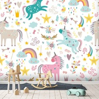[Self Adhesive] 3D Flowers Rainbow Unicorn 44 Wall Paper mural Wall Print Decal Wall Murals
