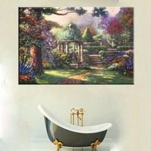 Spring Flowers Courtyard Oil Painting Print on Canvas Thomas Kinkade Pastoral Landscape Living Room Decor Wall Art Frameless