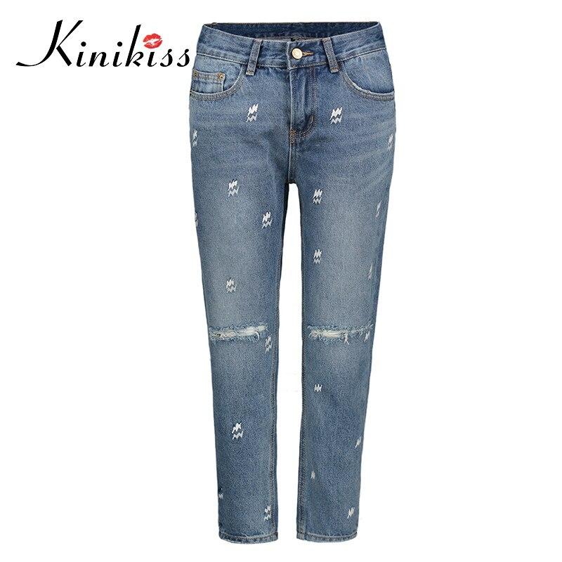Kinikiss Woman Jeans Pants 2018 Slim Ankle Length Embroidery Hole Ripped Pockets Zipper Button Casual Women Denim Pencil Pants