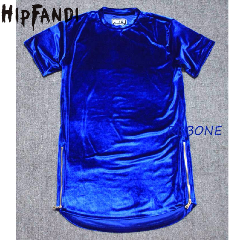 HIPFANDI StreetWear Велюрні чоловічі футболки 2018 Літо Нові хіп-хоп Футболки з коротким рукавом Плюс розмір блискавки Velvet Curved Hem