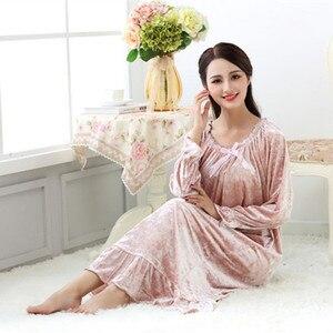 Image 3 - Fdfklak robe de nuit longue en velours pour femme, tenue de nuit en velours, grande taille, printemps automne, nouvelle collection pyjama pour femmes robe de nuit Q1468