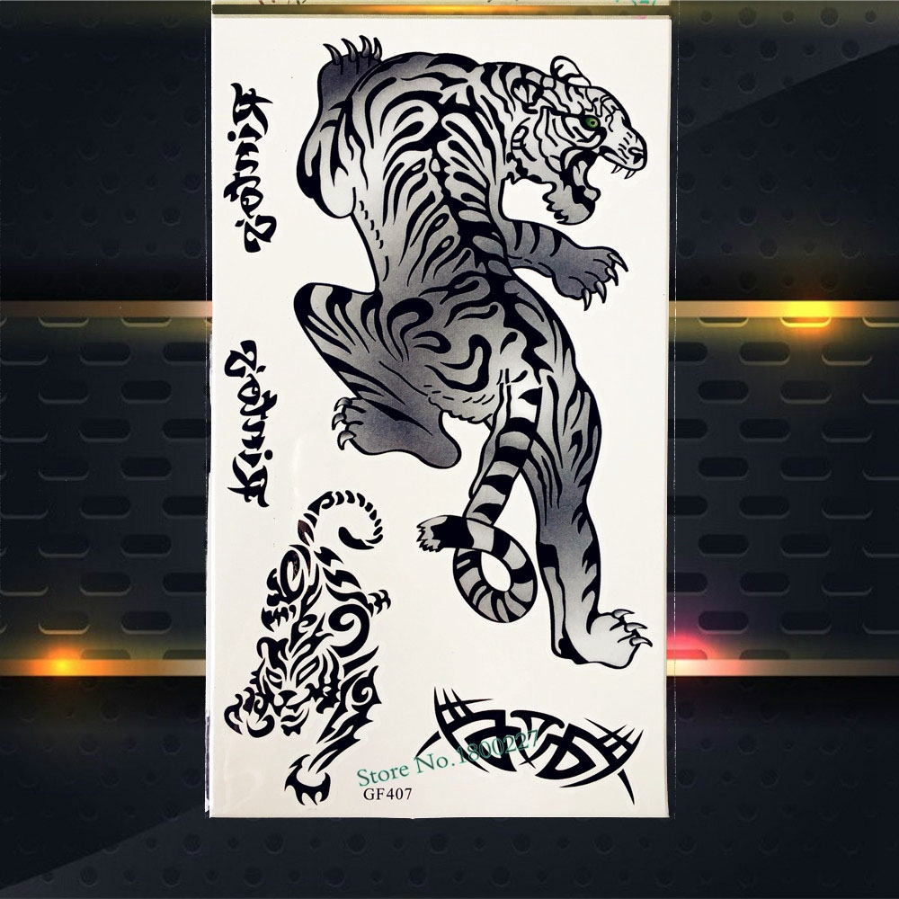 Cool Large Tiger Waterproof Temporary Tattoo Fake Flash Tattoo Stickers PGF407 Women Body Art Tattoo Arm Sleeves Men Sticker