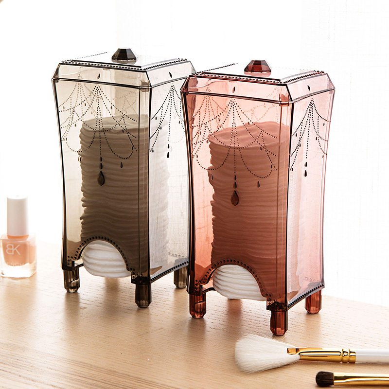 Makeup Organizer Plastic Makeup Storage Box Cotton Pad Organizer Dressing Table Home Accessories Organizer