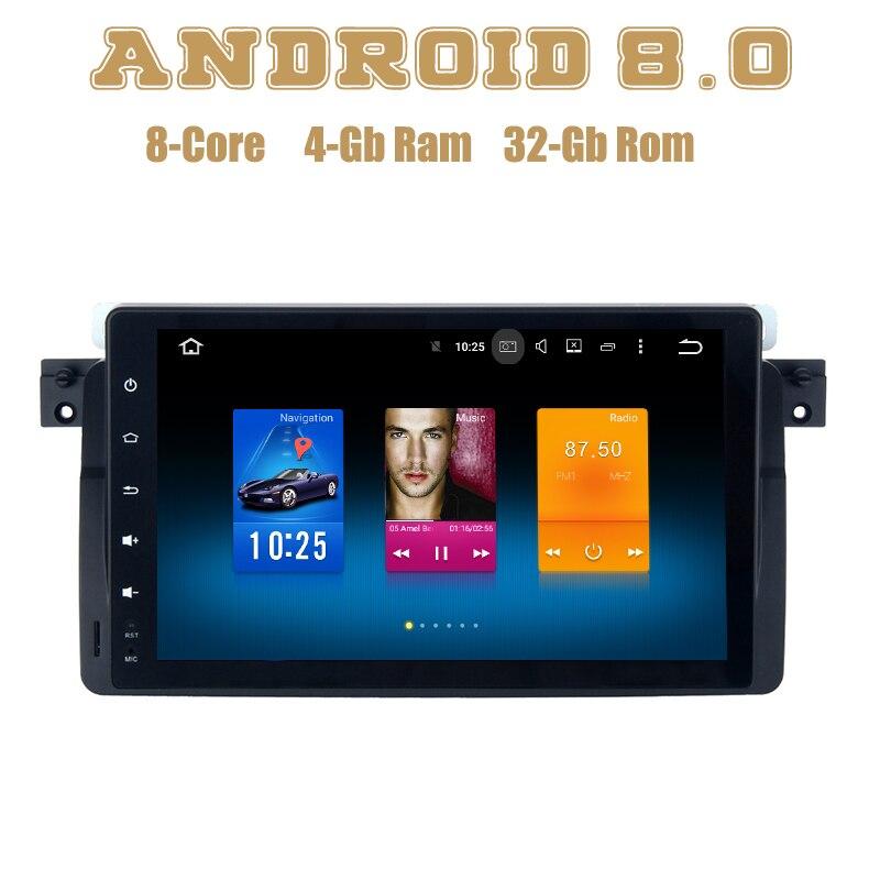 Lecteur gps autoradio Android 8.0 pour BMW série 3 E46 318i 320i 325i M3 avec Octa core PX5 wifi 4g usb stéréo automatique