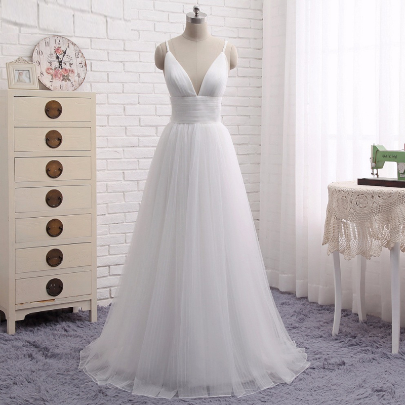 Beach Wedding Dresses 2017.Us 90 3 30 Off 2019 New Spaghetti Strap Beach Wedding Dresses 2017 Vestido Noiva Praia Simple White Tulle Casamento Bridal Gown Custom Made In