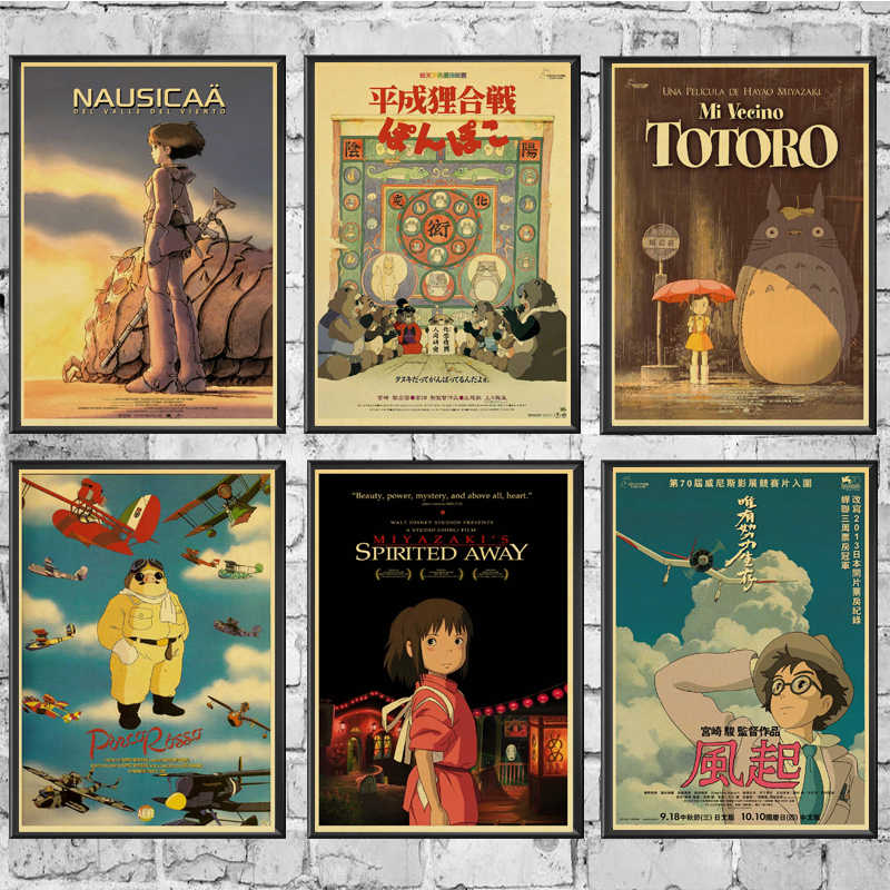 Anime Poster Hayao Miyazaki Collection Good Quality Painting RetroPoster Kraft Paper For Home Bar Wall Decor/Stickers