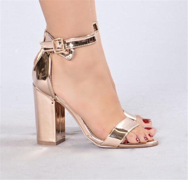 6152f2e4736e Newest Women Fashion Open Toe Rose Gold Mirror Patent Leather Chunk Heel  Sandals Ankle Strap High Heel Sandals Free Shipping