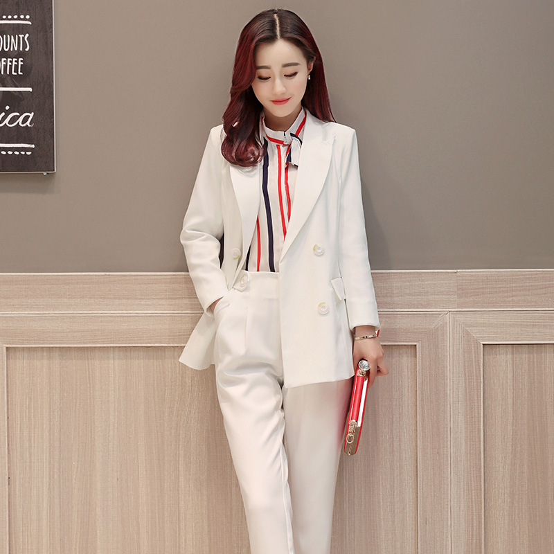 new Fall fashion suit suit female career suit jacket and long sections temperament casual two-piece pants tide