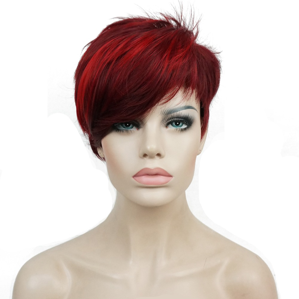 StrongBeauty Women's Short Straight Bob wig Deep wine Burgundy Mix Natural Synthetic Full Wigs