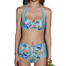 PNT 2017 Sexy Bikinis Set High Waist Swimsuit Swimwear Women Floral Strap Push Up biquini Beachwear Bathing Suits New Bikini