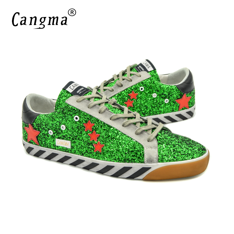 ФОТО CANGMA Designer Shoes Women High Quality Genuine Leather Sequin Woman 2017 Italy Brand Superstar Casual Green Basse Shoes Femme