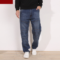 Real Plus Size 28 to 48 Mens Blue Straight Stretch Jeans Regular Denim Jean Trousers Large Size Big and Long Pants