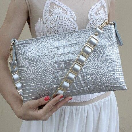Высококачественный Женский Повседневный клатч, женская сумка-мессенджер из крокодиловой кожи, сумки-клатчи, вечерние сумки, заклепочная рукоять - Цвет: Серебристый