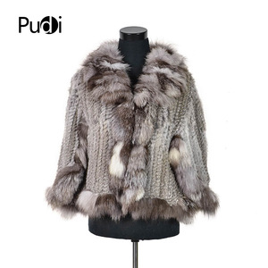 CK709 NEW real rabbit fur knitted shawls /poncho with real fox fur collar women's fashion solid Scarves & Wraps