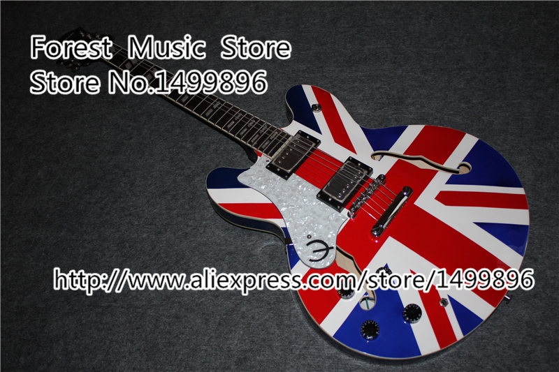 High Quality Flag Custom Finish Left Handed ES Electric Guitars China Hollow Body & Kits Custom Available high quality flag custom finish left handed es electric guitars china hollow body