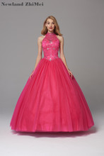 Fuchsia Pink Ball Gown Quinceanera Dress Best Selling High Neck Crystal Bead Tulle Party Dresses 2018