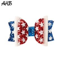 AHB 2Pcs/lot 4th of July Hair Bows for Girls Glitter Clips Independence Day Blue/White/Red Pins Kids Accessories