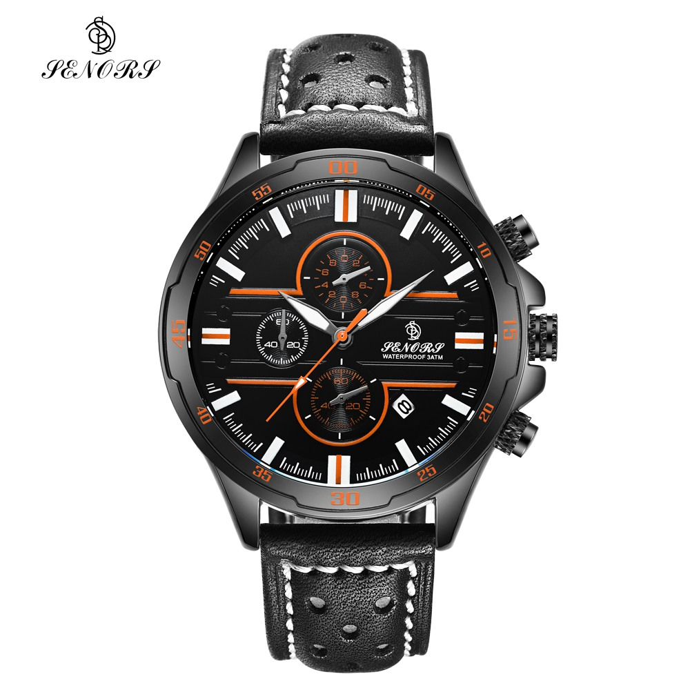 SENORS Men's Quartz Watches Sports Watches Waterproof Luxury Leather Strap Military Watch Couple WristWatches Clock for Men senors men s quartz watches sports watches waterproof luxury leather strap military watch couple wristwatches clock for men