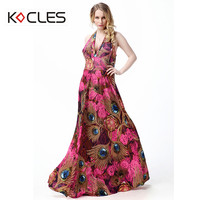 Plus Size 6 7XL Women Summer Holiday Bohemian Beach Elegant Vintage Maxi Tunic Halter Flower Floral