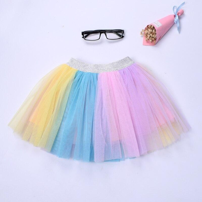 New Kids girls rainbow tutu skirt Unicorn colorful tulle skirt Birthday wedding party Skirt for girl Pink blue skirt