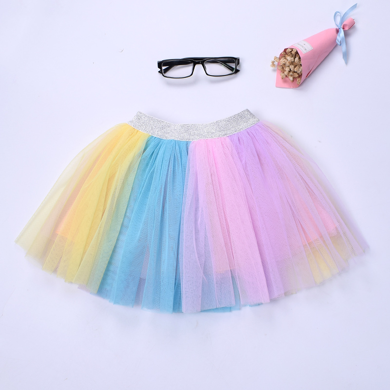 New Kids girls rainbow tutu skirt Unicorn colorful tulle skirt Birthday wedding party Skirt for girl Pink blue skirt