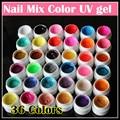 Профессиональные 36 Цветов Смешивания Nail Art УФ гель Чистый + Блеск порошок + Мерцание Красочный Ногтей Гелем УФ-гель набор Nail art кисть