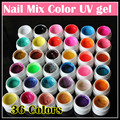Professional 36 Mix Colors Nail Art UV gel Pure + Glitter Powder+ Shimmer Colorful Nail Gel UV gel set with Nail art brush