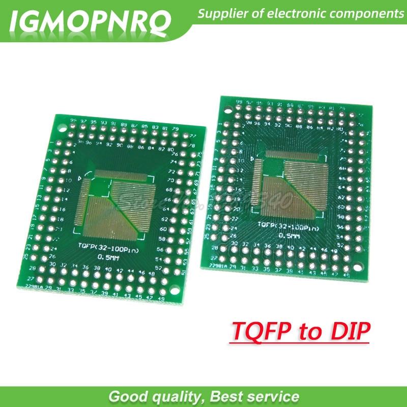 5pcs QFP32 QFP44 QFP64 QFP80 QFP100 0.5//0.8mm SMD to DIP Breakout Board