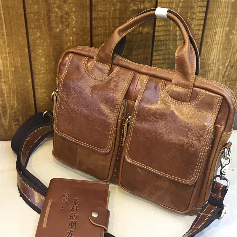 YUPINXUAN 2018 New Arrival Cow Leather Handbags Men Brown Leather Work Bags Large Capacity Leather Messenger Bag Man Briefcase aetoo the new oil wax cow leather bags real leather bag fashion in europe and america big capacity of the bag