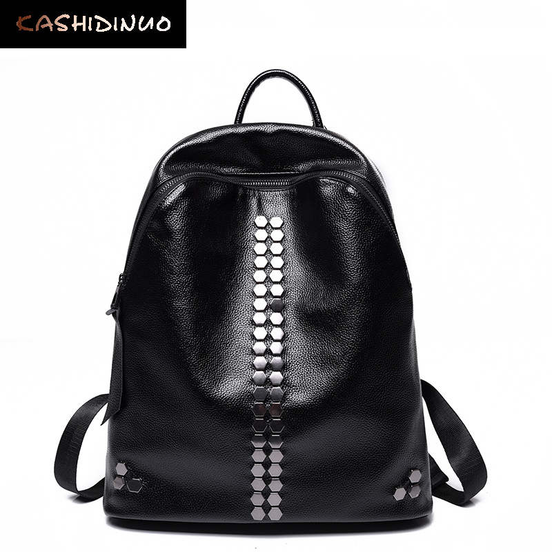 KASHIDINUO Brand Fashion Rivet Women leather Backpacks travel Students School Backpack shoulder bags mochila for Teenage Girls 2016 fashion women backpacks rivet soft sheepskin leather bags shoulder for teenage girls female travel bag free gift