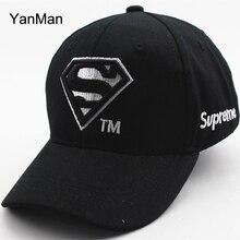 YanMan Embroidery Superman Letter Baseball Cap Kids Boys Girls Snapback Caps Casquette Homme Hip Hop Hat White Black Pink