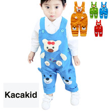 New Fashion Baby Boys Girls Overalls 2019 Kids Cartoon Suspender Pants Baby Rompers Children Clothing Trousers Outfit 1-3T недорого