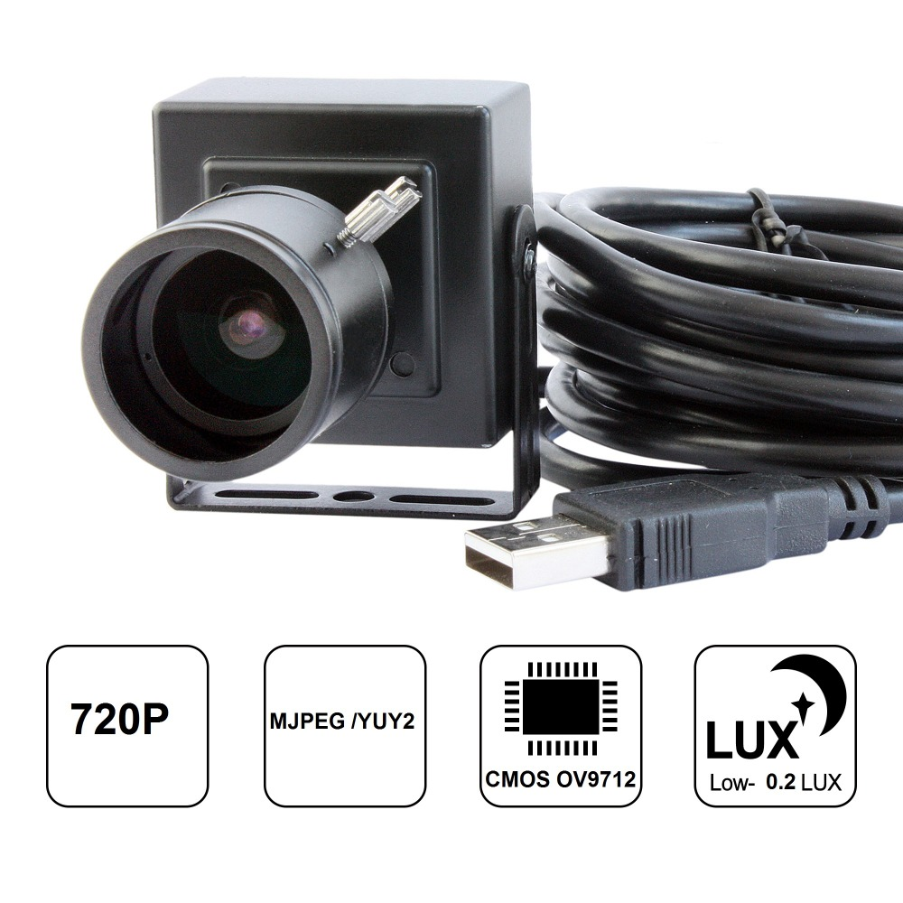 ELP 1MP  HD 2.8-12mm Manual Varifocal lens mini CMOS OV9712 Audio Video Webcamera with Microphone MIC for Computer PC Laptop
