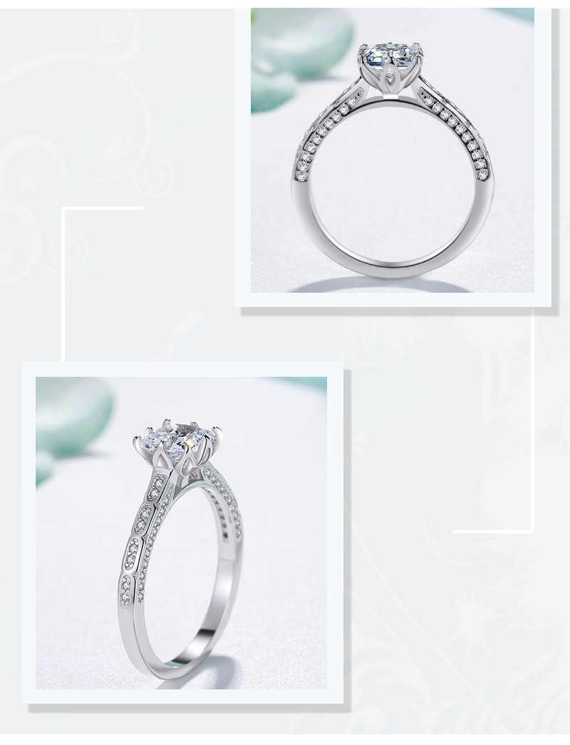 Hot Sale Original 925 Silver Rings For Women Fashion Cubic Zirconia Princess Rings Wedding Engagement Ring Fine Jewelry HR212
