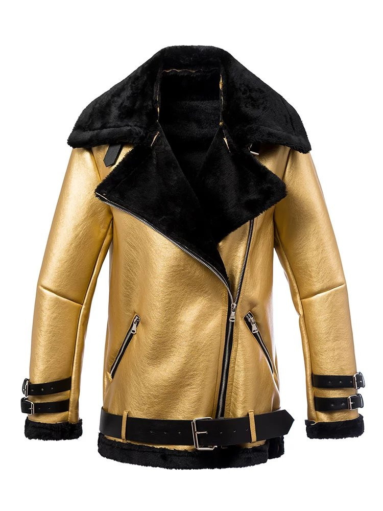 Free shipping 2017 women leather jacket wholesale gold motorcycle jacket long sleeves Cashmere coat fur collar S L winter jacket