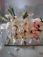 Glass candle holder with crystal bead wedding table decor